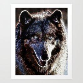 Magical Dark Wolf Art Print