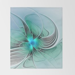 Abstract With Blue 2, Fractal Art Throw Blanket