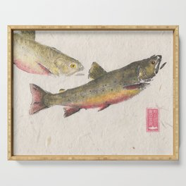 Pair of Brook Trout- Gyotaku Serving Tray