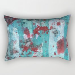 Fluidity: Red and Aqua fluid ink spills and splatters Rectangular Pillow