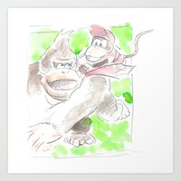 donkey kong Art Prints featuring Donkey Kong and Diddy Kong by Josh Filhol