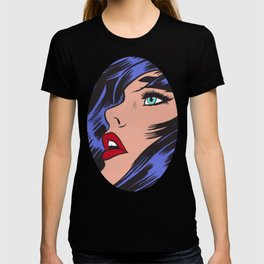 Blue Pop Art Comic Girl T-shirt