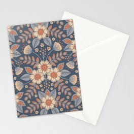 Slate Blue, Cream & Peach Floral Pattern - Pastel Flowers & Leaves Stationery Cards