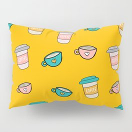 Happy coffee cups and mugs in yellow background Pillow Sham