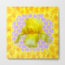 ABSTRACT YELLOW SPRING IRIS GOLDEN DAFFODILS FRAME Metal Print