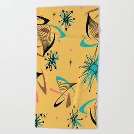 Mid Century Modern Retro Beach Towel