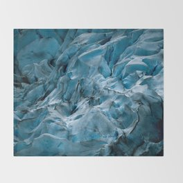 Blue Ice Glacier in Norway - Landscape Photography Throw Blanket