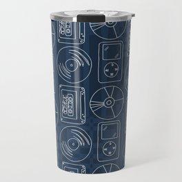 Music Lover Listening Cassette Record CD Tile Blue Geometric Travel Mug
