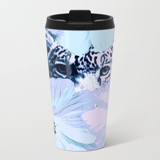 Behind the scenes - big cat hiding behind the flowers - lovely colors Metal Travel Mug