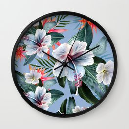 Hawaii, tropical hibiscus vintage style blue dream palm leaves Wall Clock