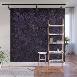 Violet 3D Psychedelic Ornaments Wall Mural