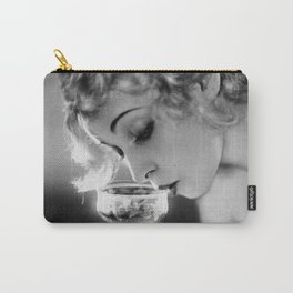 Jazz Age Blond Sipping Champagne black and white photograph / photography Carry-All Pouch