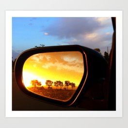 Rearview Mirror Sunset Art Print