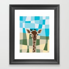 Wild Giraffe Baby on the grassland Framed Art Print