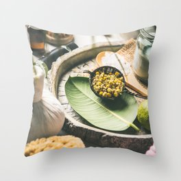 Spa and massage products  on concrete background Throw Pillow