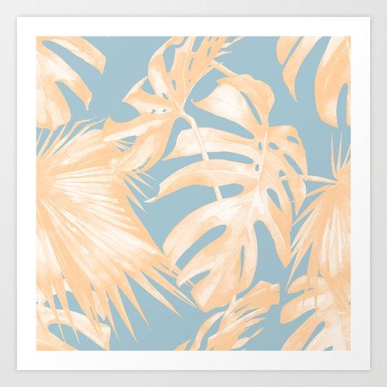Tropical Leaves Citrus on Ocean Blue Art Print