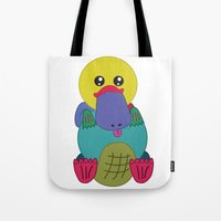 platypus Tote Bags featuring Rainbow Platypus by Joy Deits