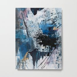 Breathe: colorful abstract in black, blue, purple, gold and white Metal Print