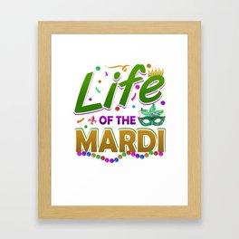 Mardi Gras Parade 2019 Beads Party Shirt Gift Idea Light Framed Art Print
