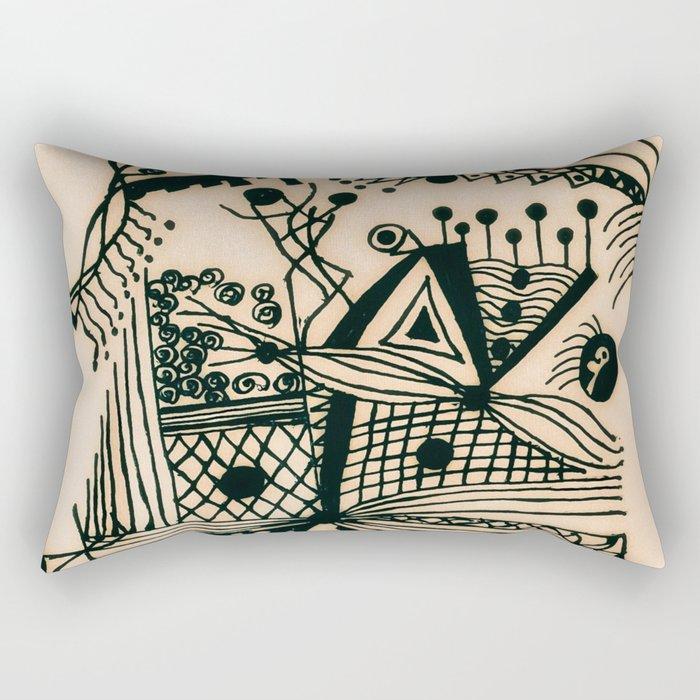 Design with black ink #1 Rectangular Pillow