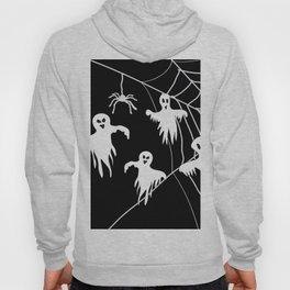 White Ghosts spider web Black background Hoody