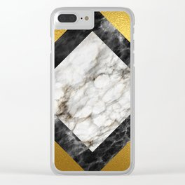 Gold foil white black marble #5 Clear iPhone Case
