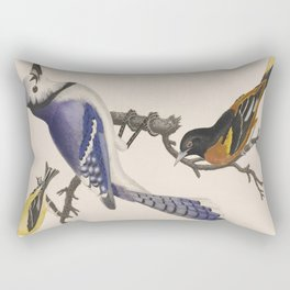 Blue jay, goldfinch, and Baltimore oriole - American ornithology - ALexander Wilson - 1829 Rectangular Pillow