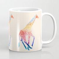 giraffe Mugs featuring Watercolor Giraffe by Jacqueline Maldonado