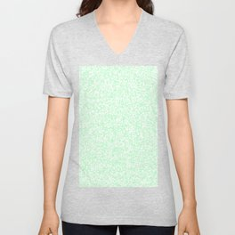 Tiny Spots - White and Mint Green Unisex V-Neck