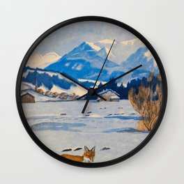 Jugend-Munich illustrated weekly for art and life - 1906 Cold Climate Snow Mountains Fox Wall Clock