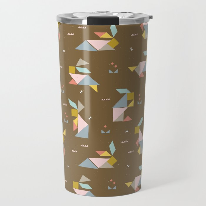 Tangram Bunnies M+M Nutmeg by Friztin Travel Mug