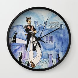 Corto Maltese with cats Wall Clock