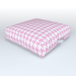 Preppy Patterns™ - Modern Houndstooth - white plus powder pink Outdoor Floor Cushion