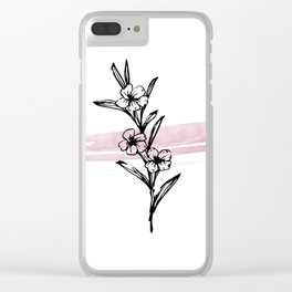 flower ink drawing watercolor pink stroke Clear iPhone Case