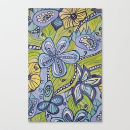 Turquoise, Yellow, and Green Floral Canvas Print