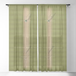 Cricket Pitch  Sheer Curtain