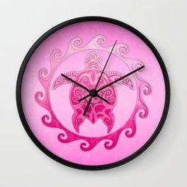 Pink Tribal Turtle Sun Wall Clock