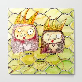 Chicken Jane and Jo Metal Print
