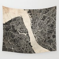 liverpool Wall Tapestries featuring liverpool map ink lines by NJ-Illustrations