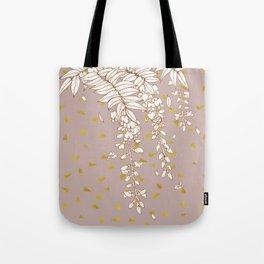 Wisteria in Gold Tote Bag