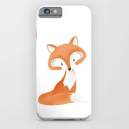 Cute fox kids illustration on white background iPhone Case
