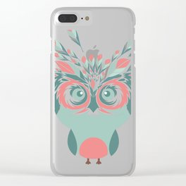 Whimsical Owl Feathers Happy Thanksgiving Clear iPhone Case