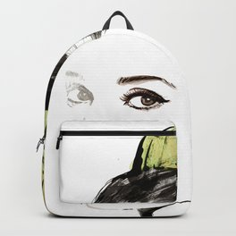 Classical Beauty, Fashion Painting, Fashion IIlustration, Vogue Portrait, Black and White, #13 Backpack