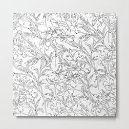 Black and White Botanical Design Metal Print