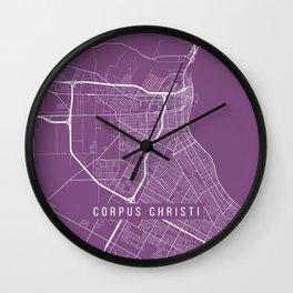 Corpus Christi Map, USA - Purple Wall Clock