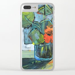 Bloom in a Blue Vase Clear iPhone Case