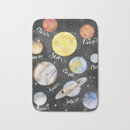 Watercolor Planets Names Bath Mat