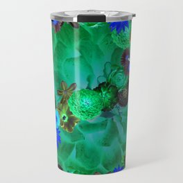 Flower explosion in green and blue Travel Mug