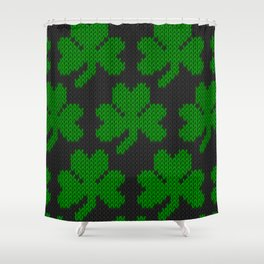 Shamrock pattern - black, green Shower Curtain