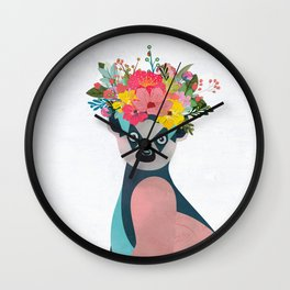 Lemurs with a crown of flowers I Wall Clock